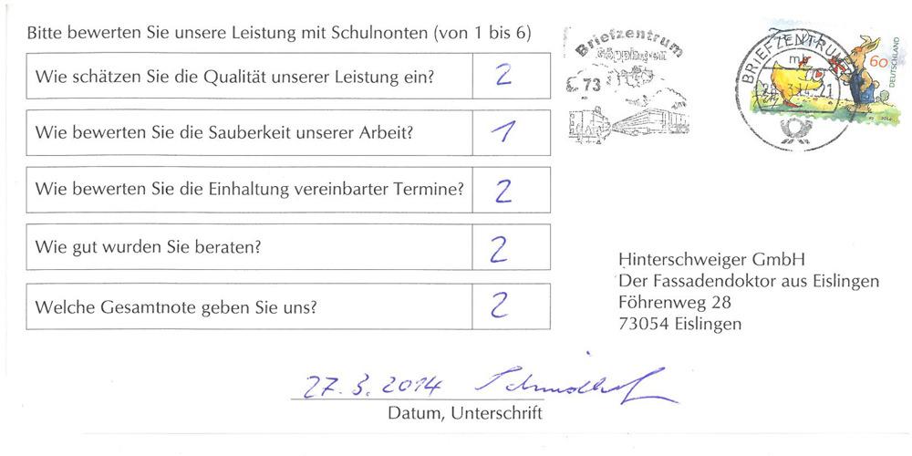 Bewertung Hinterschweiger GmbH Eislingen