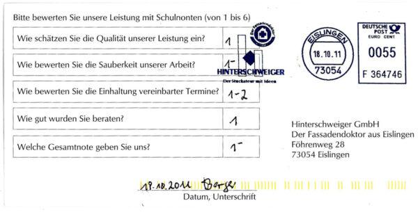 Bewertung Hinterschweiger GmbH
