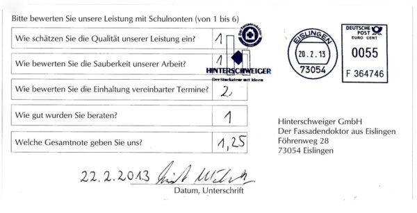 Kundenbewertung Hinterschweiger GmbH